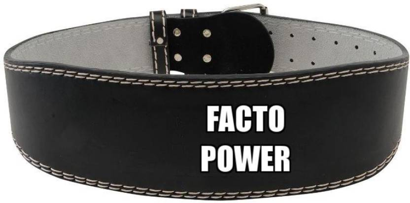 Facto Power Weight Lifting Leather Belt Back & Abdomen Support (M, Black)