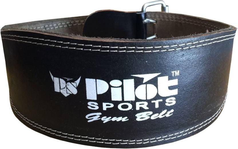 Pilot sports co PS Pilot- Leather Weight Lifting Belt Bl Back & Abdomen Support (L, Black)