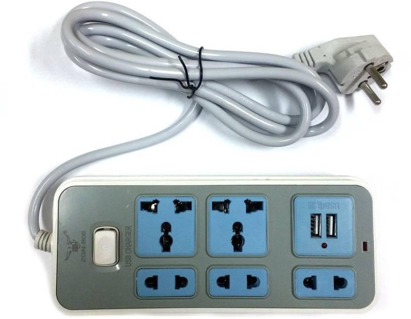 Gadget-Wagon 2 nos 3way, 3 Nos 2 Way plug socket with 2.1 Amp Dual ...