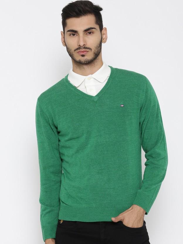 Arrow Sport Solid V,neck Casual Men Green Sweater