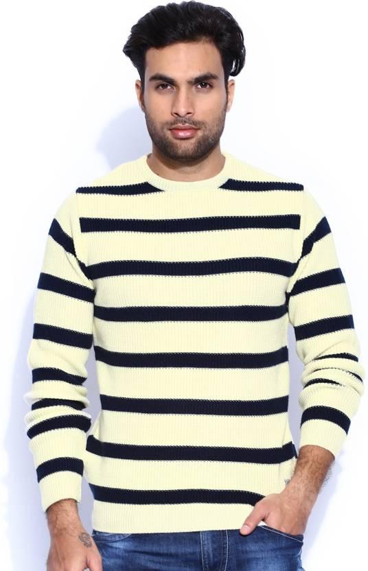 b97ae958ea4 HRX by Hrithik Roshan Self Design Round Neck Casual Men White, Dark Blue  Sweater
