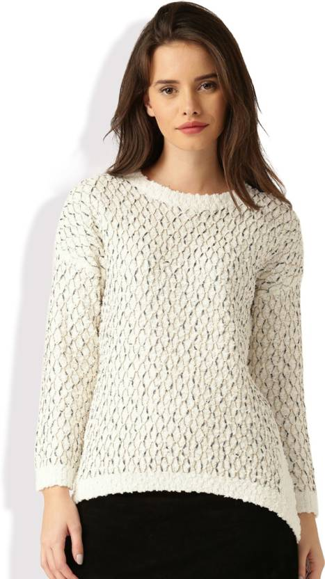 539a24e81ce Dressberry Self Design Round Neck Casual Women White Sweater - Buy White  Dressberry Self Design Round Neck Casual Women White Sweater Online at Best  Prices ...