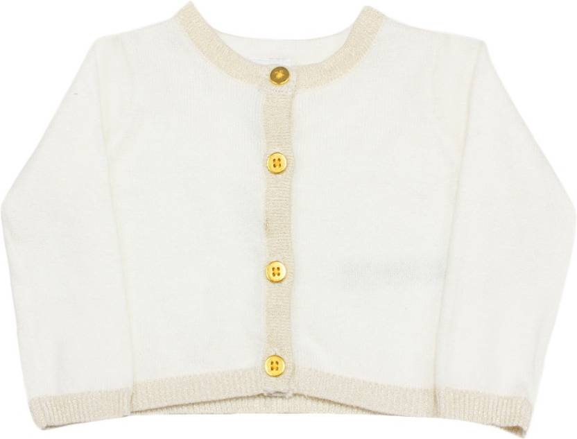 Carters Solid Round Neck Casual Baby Girls White Sweater Buy