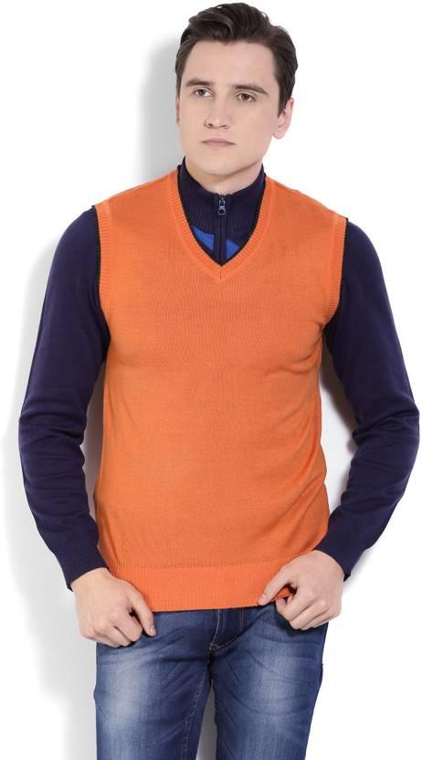 Numero Uno Solid V Neck Casual Men Orange Sweater Buy Burnt Orange
