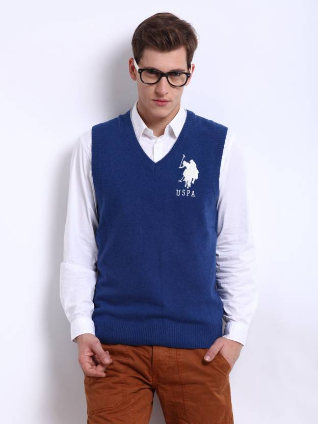 a6617d30e U.S. Polo Assn Solid V-neck Casual Men Blue Sweater - Buy BLUE MEL ...