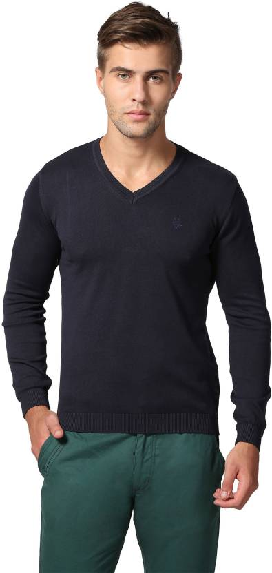 b5a3912bb56 Goat Solid V-neck Casual Men Dark Blue Sweater - Buy Navy Goat Solid ...