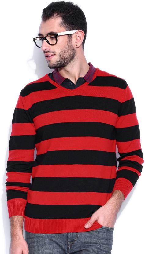 Kook N Keech Striped V-neck Casual Men Red Sweater
