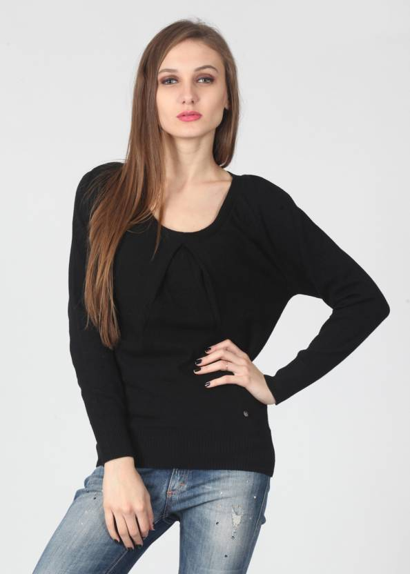 United Colors of Benetton. Solid Round Neck Casual Women Black Sweater