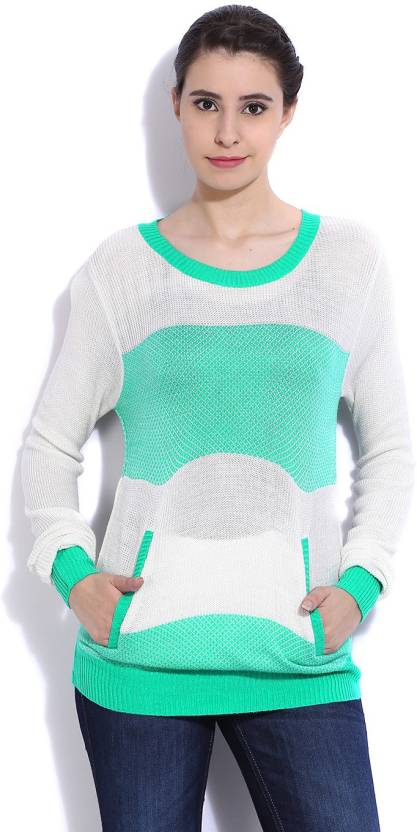 ad2f1ceb5e Flying Machine Solid Round Neck Casual Women White