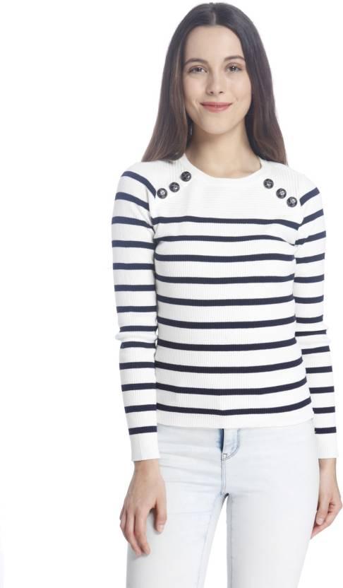 Vero Moda Striped Round Neck Casual Women White Sweater - Buy Snow White Vero  Moda Striped Round Neck Casual Women White Sweater Online at Best Prices in  ... 2da64c336
