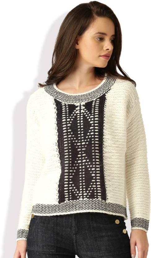 2e52edfa Dressberry Self Design Round Neck Casual Women White, Black Sweater - Buy  White, Black Dressberry Self Design Round Neck Casual Women White, Black  Sweater ...
