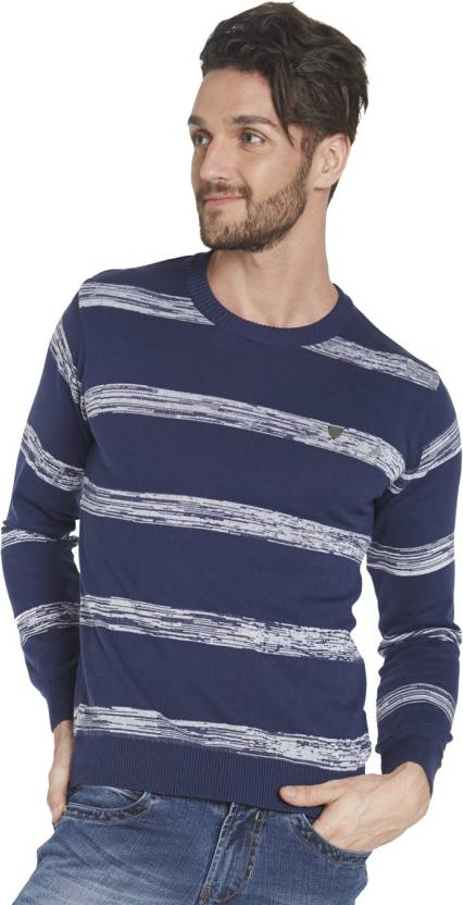 1de675924ee Globus Striped V-neck Casual Men Blue Sweater - Buy Blue Globus Striped  V-neck Casual Men Blue Sweater Online at Best Prices in India