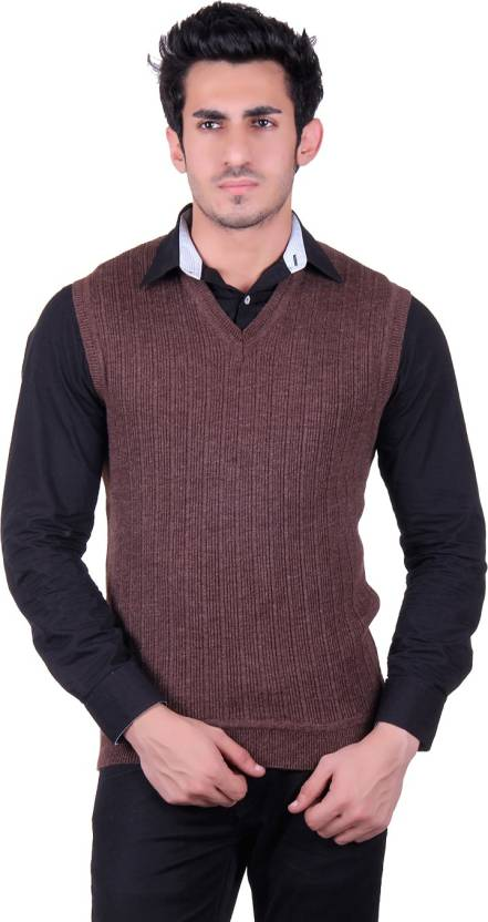 B 52 Solid V Neck Casual Men Brown Sweater Buy Brown B 52 Solid V