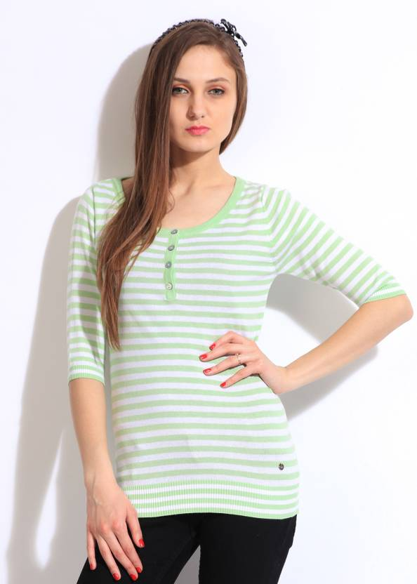 United Colors of Benetton. Striped Casual Women Green, White Sweater