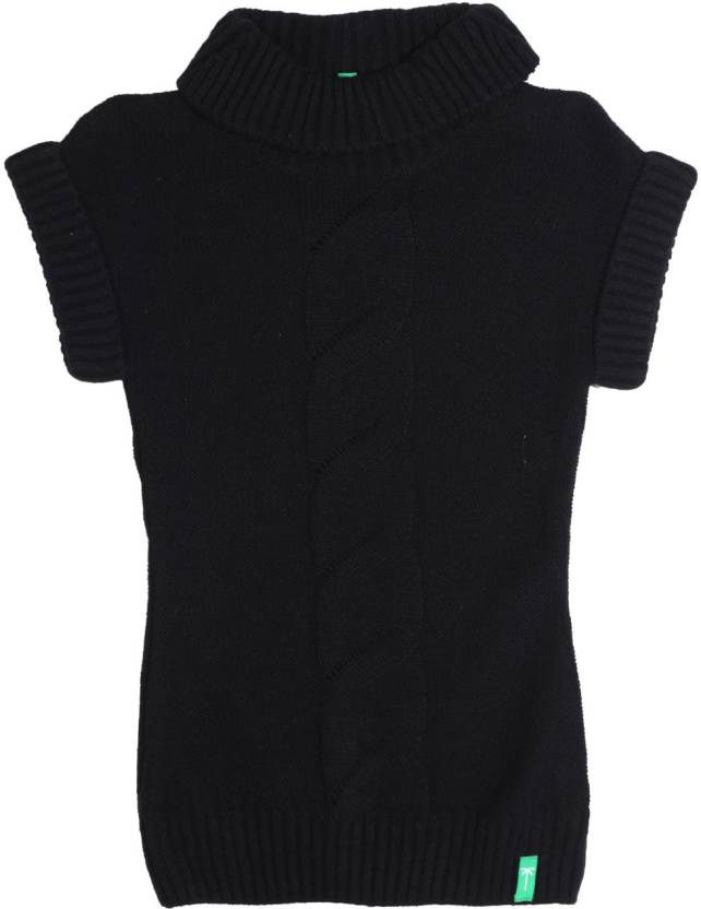 Palm Tree Solid Casual Girls Black sweater