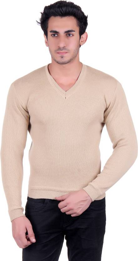 0f8821138e0 B-52 Solid V-neck Casual Men Beige Sweater - Buy Cream B-52 Solid V ...