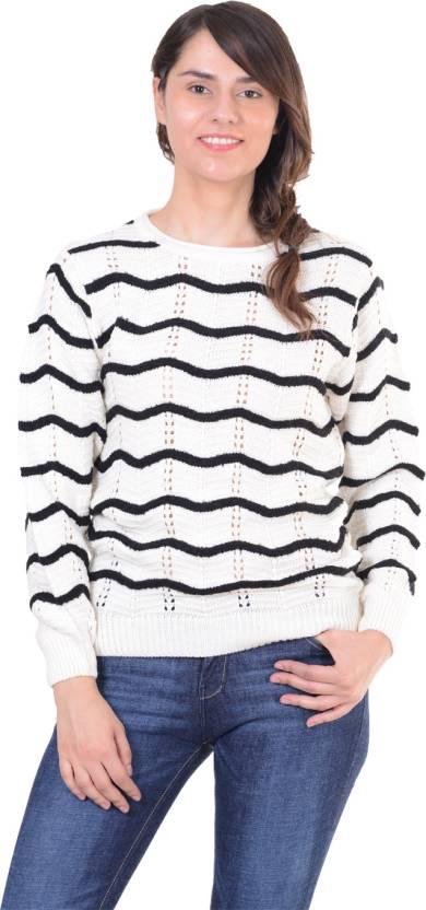 Sportking Striped Round Neck Casual Women White Sweater - Buy ... de96190e6