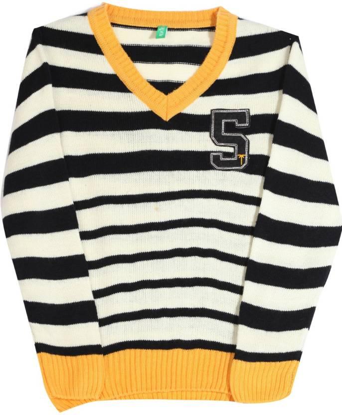 Palm Tree Striped V Neck Casual Boys White Black Yellow Sweater