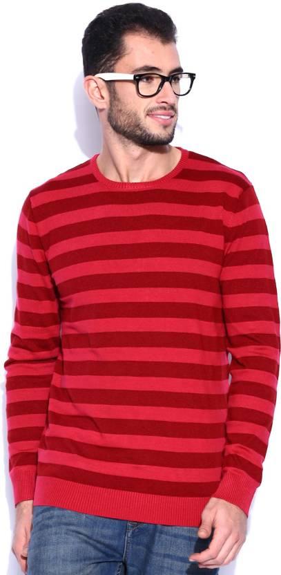 Kook N Keech Striped Round Neck Casual Men Red Sweater