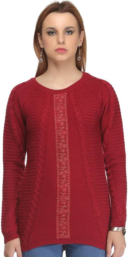 cfba423a11f Madame Self Design Round Neck Casual Women Red Sweater - Buy Red Madame  Self Design Round Neck Casual Women Red Sweater Online at Best Prices in  India ...