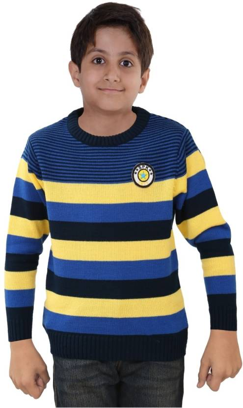77758f8fcca6 Sportking Striped Round Neck Casual Girls Blue Sweater - Buy Blue ...