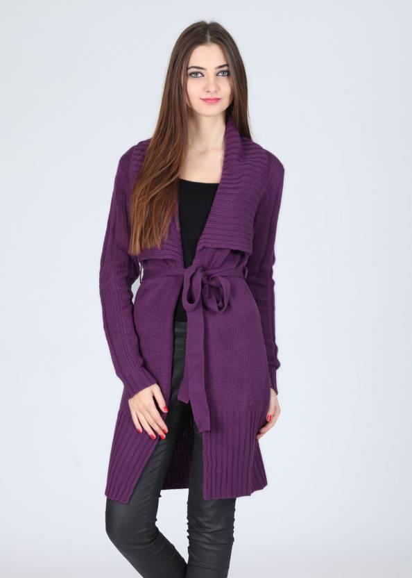 Elle Solid V-neck Casual Women Purple Sweater