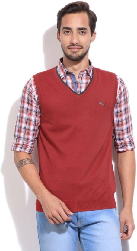 Puma Solid V-neck Casual Men Maroon sweater