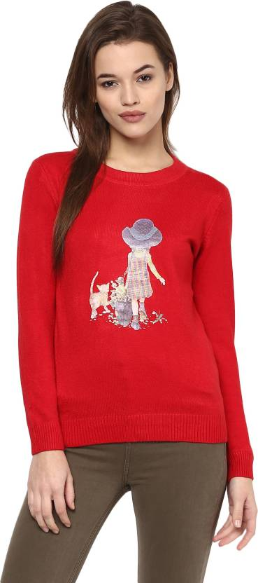 61fa192bea Camey Printed Round Neck Casual Women Red Sweater - Buy RED Camey ...