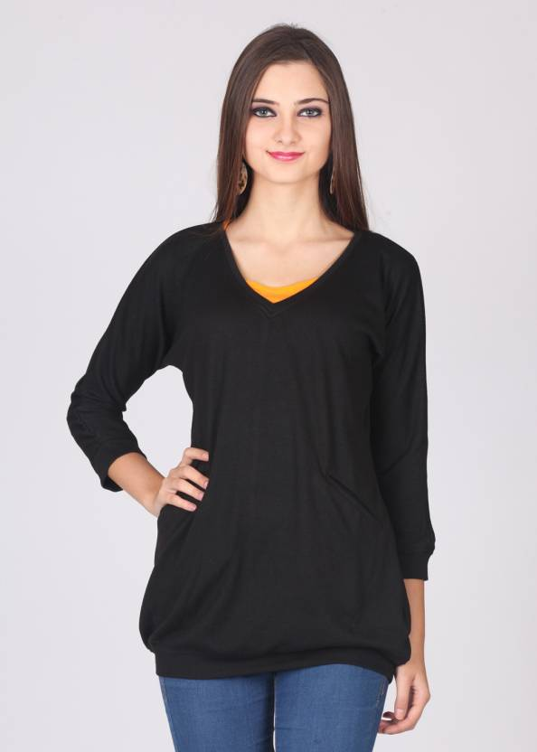 af7762c76651 Femella Solid V-neck Casual Women Black Sweater - Buy Black Femella Solid  V-neck Casual Women Black Sweater Online at Best Prices in India