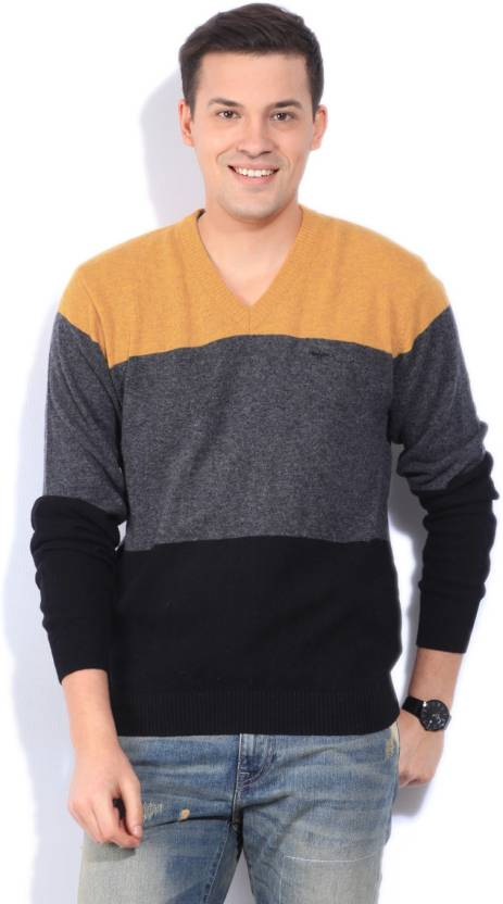 Park Avenue Solid V-neck Formal Men Yellow Sweater