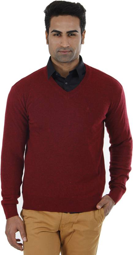 3a4754c5f57e Indian Terrain Solid V-neck Formal Men Red Sweater - Buy Red Mel Indian  Terrain Solid V-neck Formal Men Red Sweater Online at Best Prices in India  ...