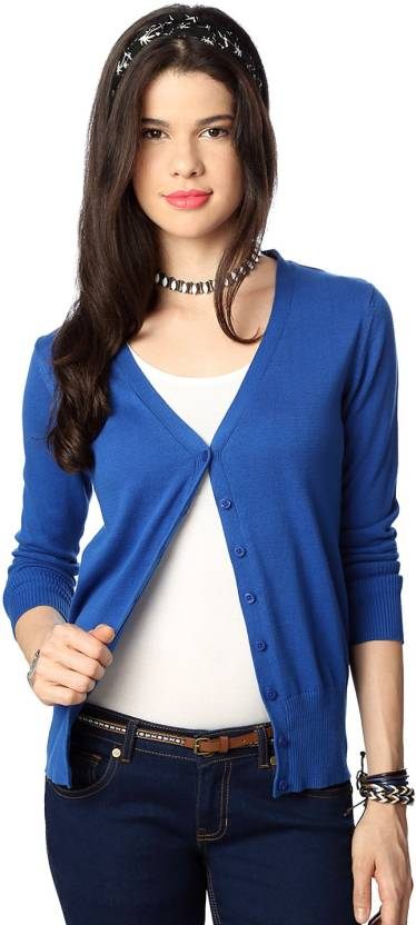 Upto 30% Off On Women's Sweaters By Flipkart | People Solid V-neck Casual Women's Blue Sweater @ Rs.629