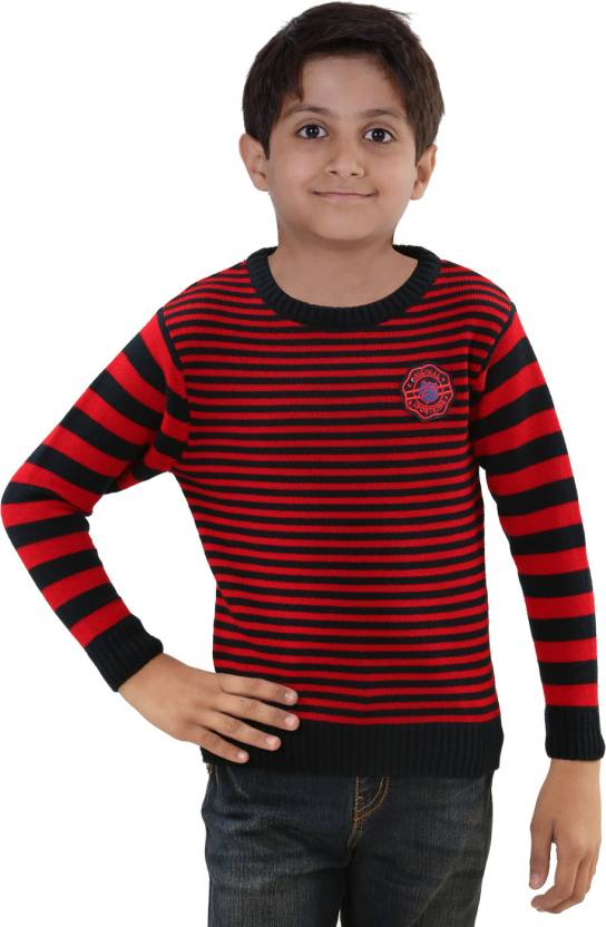 f7b46e9ff6cc Sportking Striped Round Neck Casual Girls Red Sweater - Buy Red ...