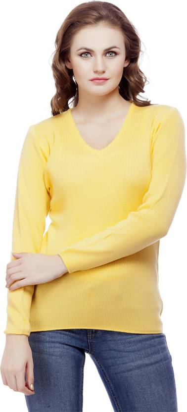 ba55d03711b Knitco Solid V-neck Casual Women Yellow Sweater - Buy Yellow Knitco ...
