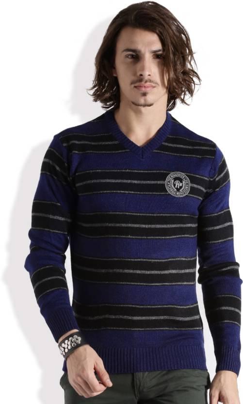 Roadster Self Design V-neck Casual Men Blue, Black Sweater