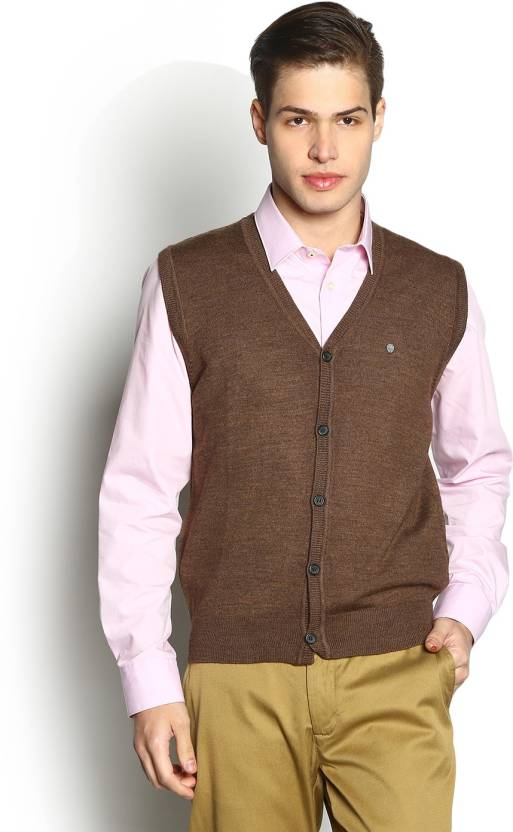 Blackberrys Solid V Neck Party Men Brown Sweater Buy Mistobronzo