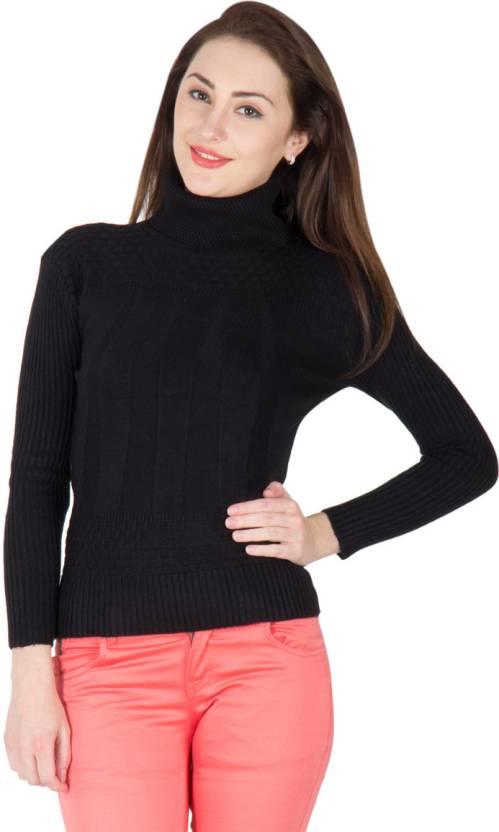 41e65e6d40 Camey Woven Turtle Neck Casual Women Black Sweater - Buy Black Camey Woven Turtle  Neck Casual Women Black Sweater Online at Best Prices in India