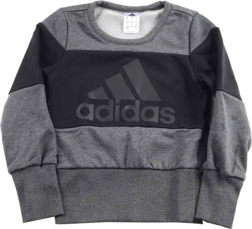 9df5656f84a ADIDAS Full Sleeve Printed Girls Sweatshirt - Buy DGREYH/BLACK ADIDAS Full  Sleeve Printed Girls Sweatshirt Online at Best Prices in India |  Flipkart.com