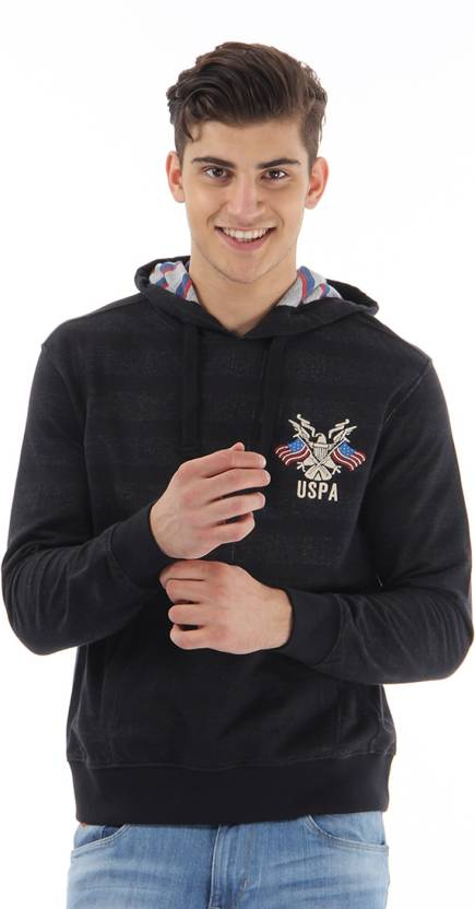 a2ea785c U.S. Polo Assn Full Sleeve Striped Men's Sweatshirt - Buy Black U.S. Polo  Assn Full Sleeve Striped Men's Sweatshirt Online at Best Prices in India ...