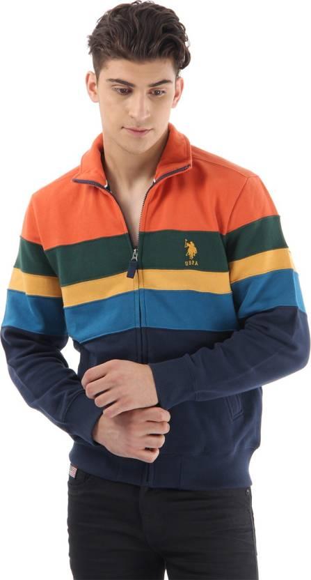 5dbd19bd U.S. Polo Assn Full Sleeve Striped Men's Sweatshirt - Buy Harvest Pumpkin U.S.  Polo Assn Full Sleeve Striped Men's Sweatshirt Online at Best Prices in  India ...