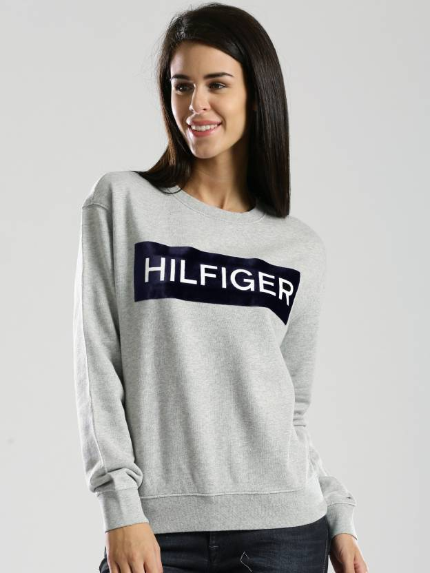 6a22198876de6 Tommy Hilfiger Full Sleeve Printed Women s Sweatshirt - Buy Grey Tommy  Hilfiger Full Sleeve Printed Women s Sweatshirt Online at Best Prices in  India ...