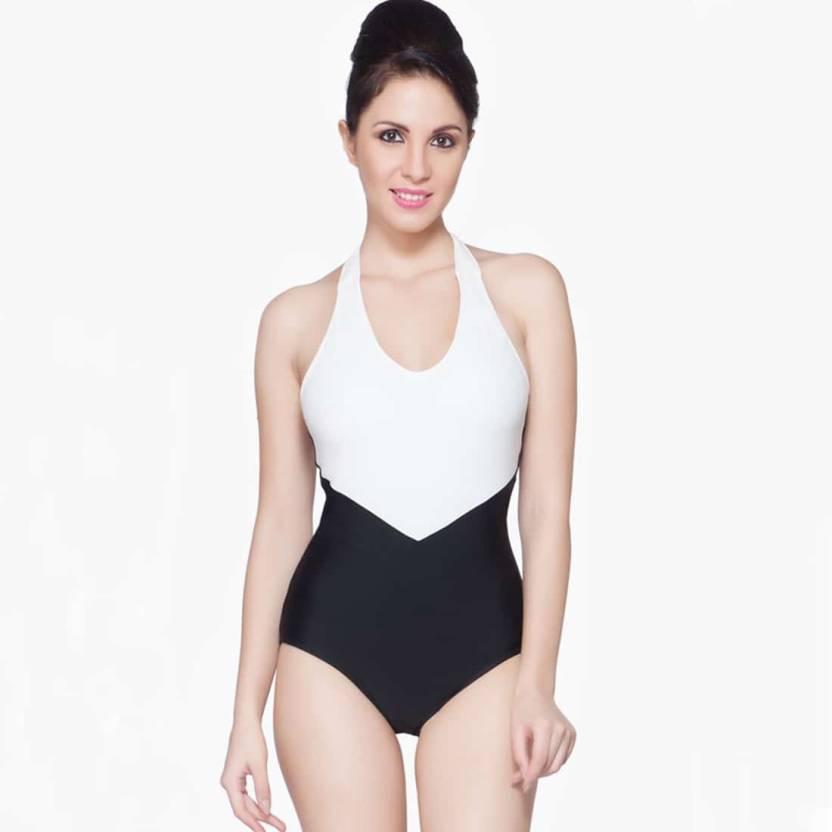 4435bc5f6b Nidhi Munim Striped Women's Swimsuit - Buy Black Nidhi Munim Striped ...