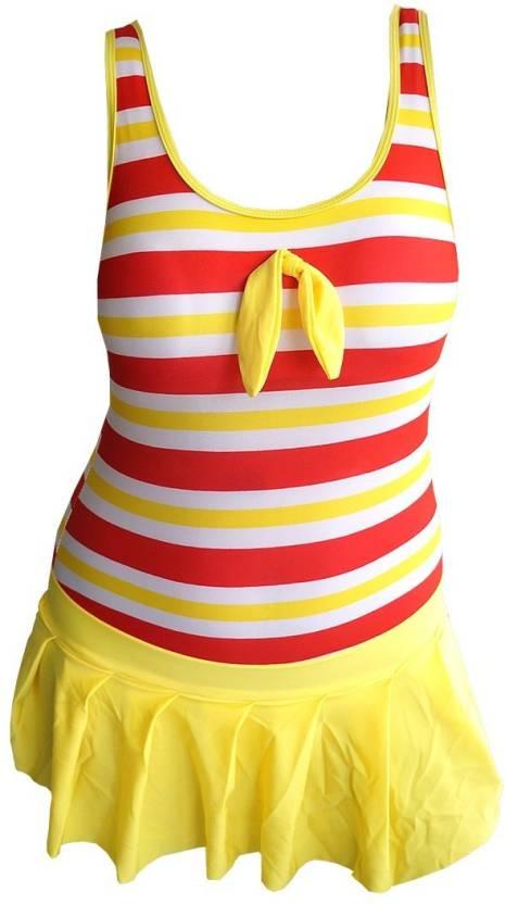 0caa79fda14d0 Muren One Piece Swim Suit Swimming Costume Self Design Women's Swimsuit -  Buy Red, Yellow Muren One Piece Swim Suit Swimming Costume Self Design  Women's ...