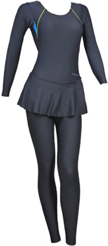 Freestyle Dark Grey Padded Full Body Swim Costume Solid Womens