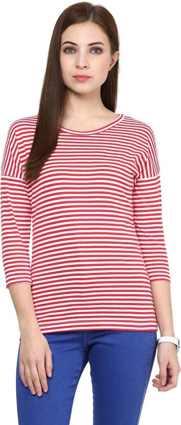 e24e1d233 Hypernation Casual 3/4th Sleeve Striped Women's Red, White Top - Buy ...