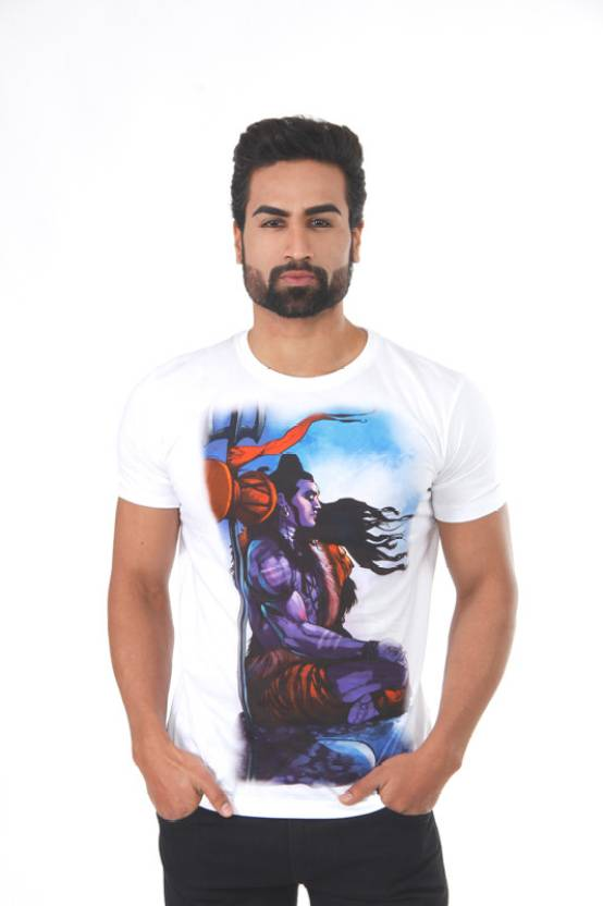 Vimanika Graphic Print Men's Round Neck White T-Shirt