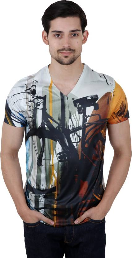 4408f1788 Freecultr Express Graphic Print Men's V-neck Multicolor T-Shirt ...
