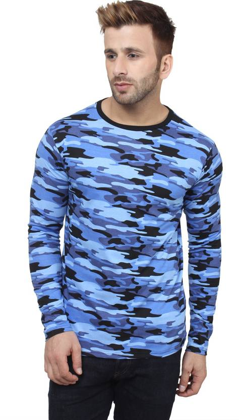 SayItLoud Military Camouflage Men's Round Neck Blue T-Shirt