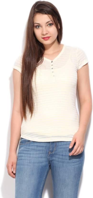 Levi's Striped Women's Henley White, Beige T-Shirt