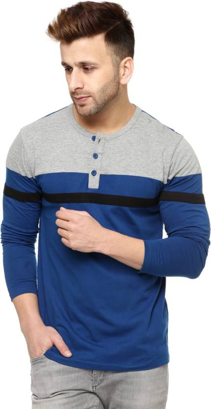33cc8e1ef Gritstones Striped Men's Henley Grey, Blue T-Shirt